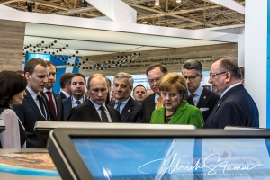 Chancellor Merkel and russian president Putin visit Gazprom Hall 13 on Hannover fairgrounds on Hannover Messe 2013